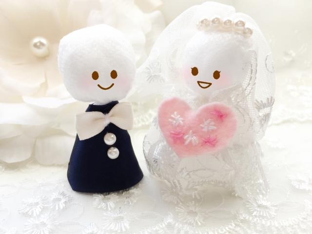 結婚式の人形カップル