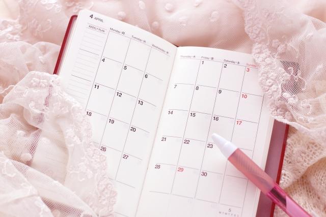 手帳のカレンダーのページ