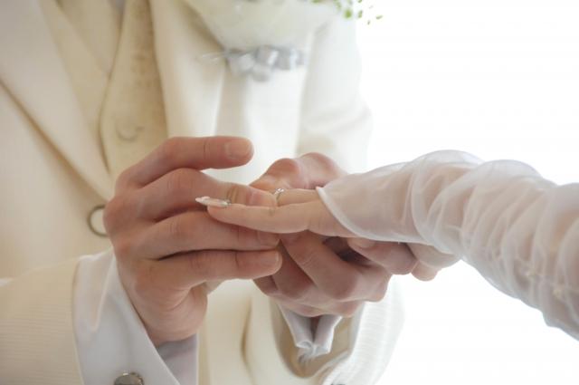 新婦の指に指輪をはめる新郎